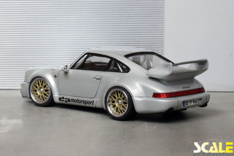 "ScaleProduction Porsche 964 with golden 18"" BBS wheels"